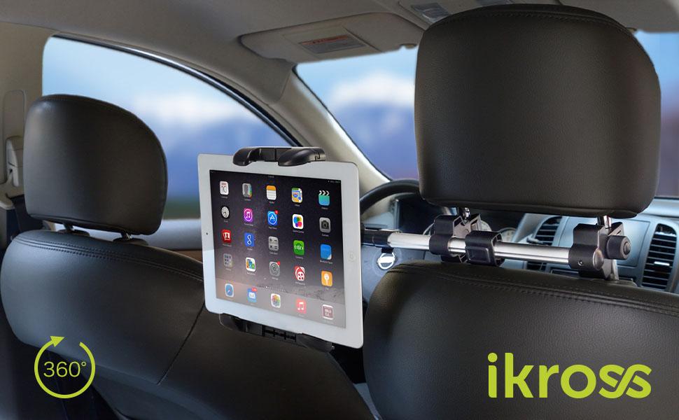iKross ヘッドレスト取付式 タブレット対応 車載ホルダー