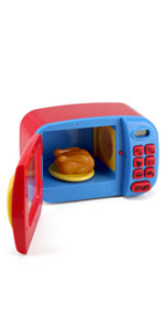 Kidzlane pretend microwave with sound effects and spinning plate pretend food pretend play 3+