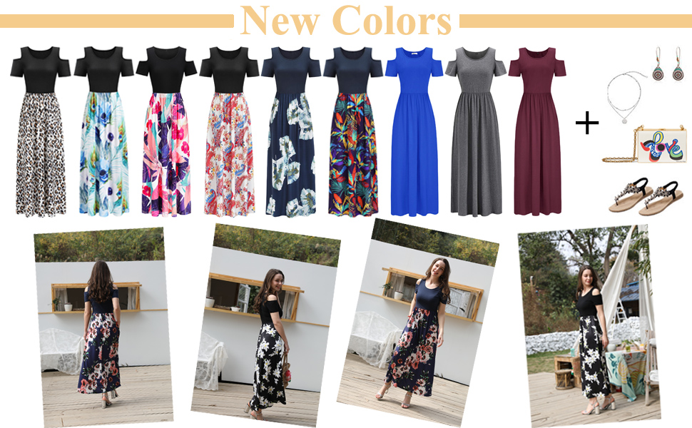 STYLEWORD Women's Summer Cold Shoulder Floral Maxi Long Dress with Pockets
