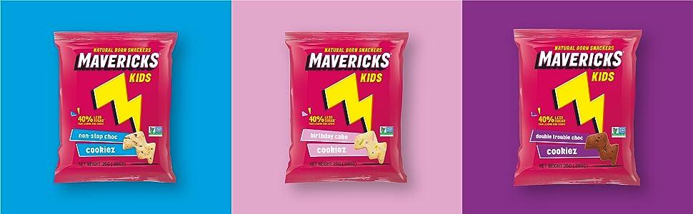 three bags of mavericks snacks