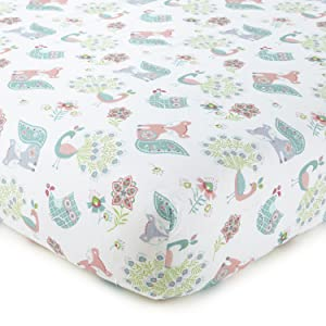 cotton crib fitted sheet woodland animals bailey bear sheet