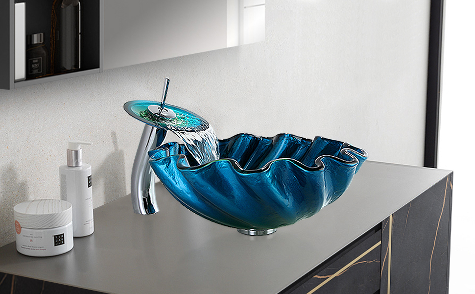 Tempered Glass Bathroom Vessel Sink