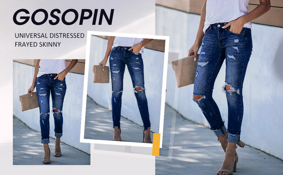 Women's Ripped Boyfriend Jeans Cute Distressed Jeans Stretch Skinny Jeans with Hole