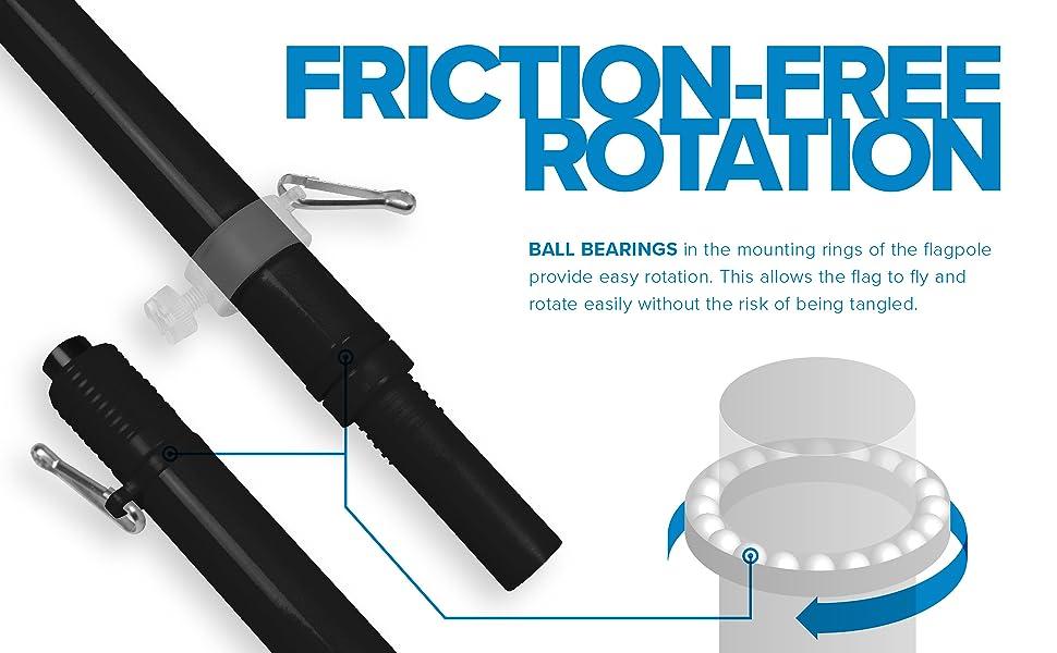 flagpole combo, flagpole, black, friction free rotation