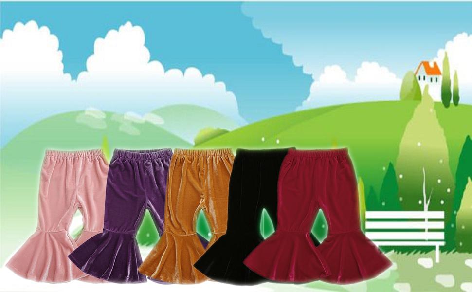 KMBANGI Baby Girl Kids Bell Bottom Flare Pants Solid Velvet Ruffle Leggings Trousers Toddler Stretchy Flare Pants