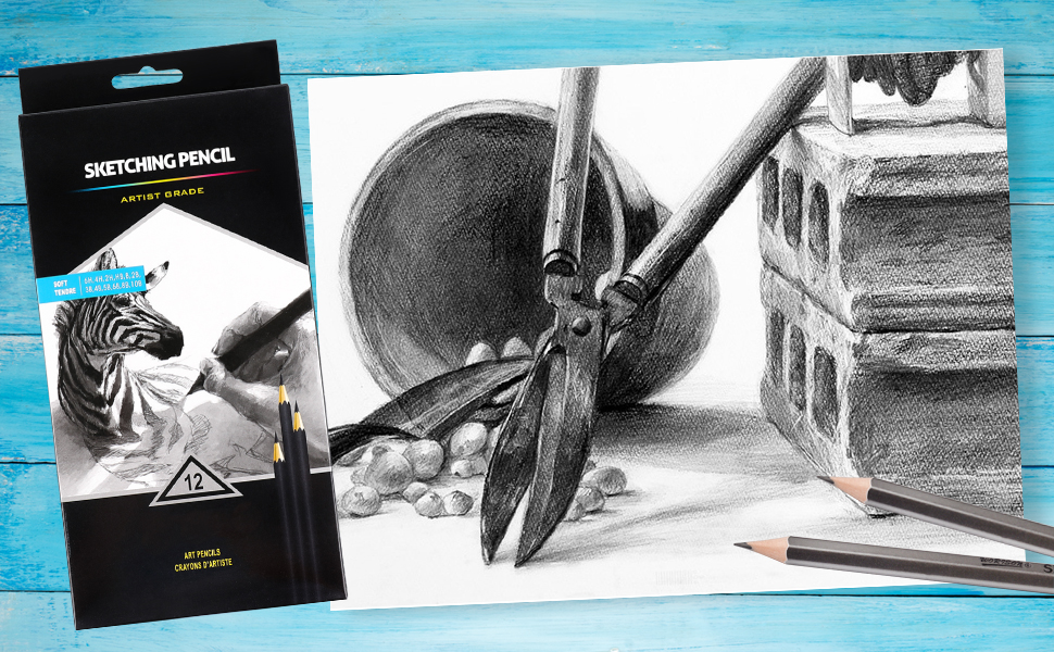 drawing pencils, graphite pencils, sketching pencils 6H, 4H, 2H, HB, B, 2B, 3B, 4B, 5B, 6B, 8B, 10B