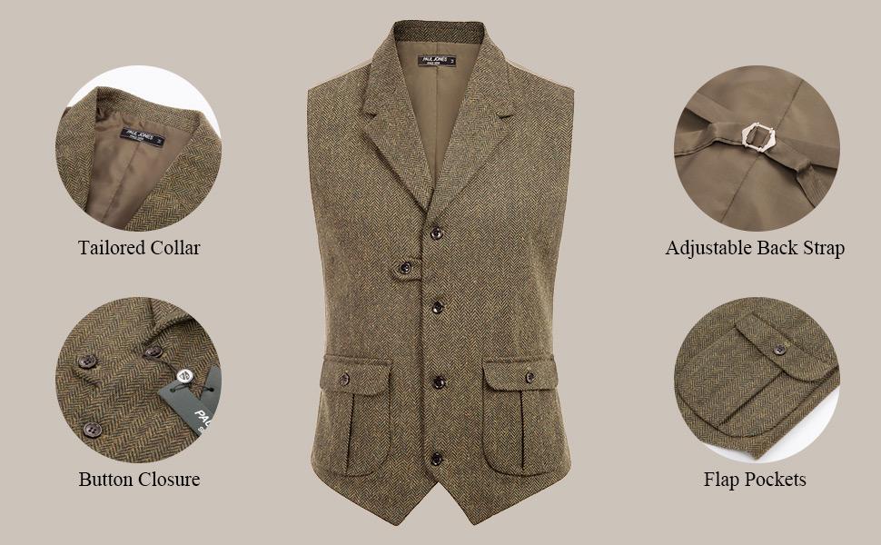 PAUL JONES vests for men