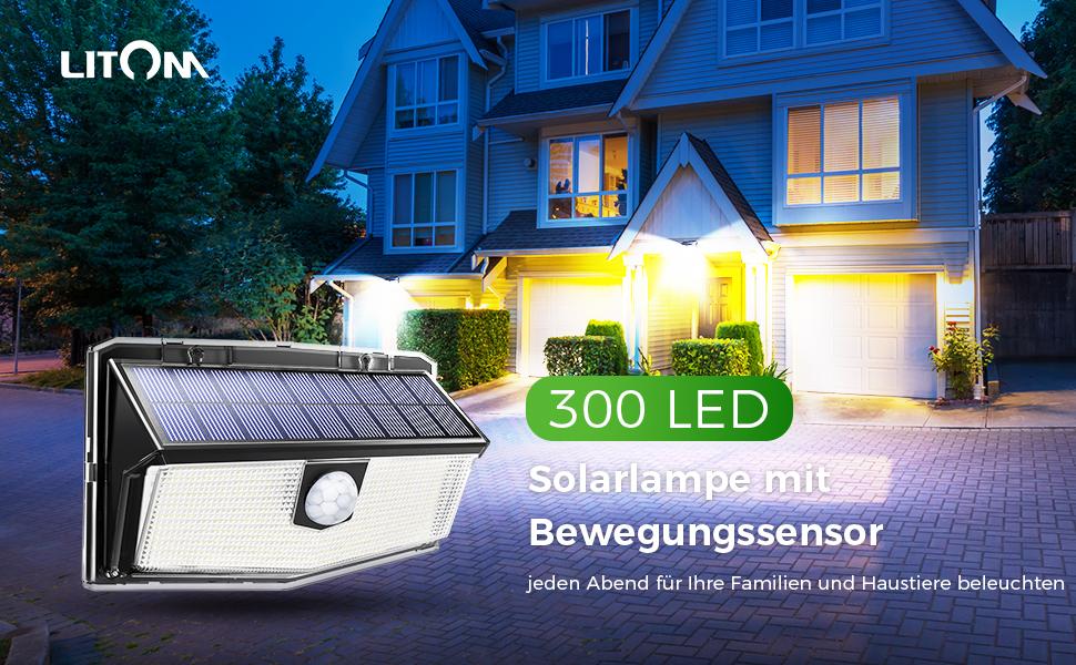 2X LITOM 300LED Solarleuchte Solarstrahler mit Bewegungsmelder Gartenbeleuchtung