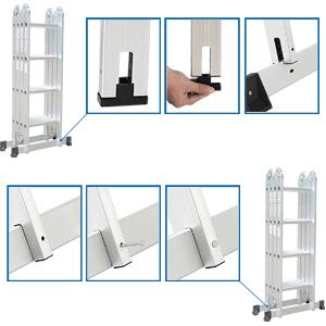 Todeco Escalera Multiusos, Estándar EN131, Carga Máxima 150 kgs, Plegable en Múltiples Posiciones, Escalera de 16 peldaños Antideslizantes, Estabilidad Asegurada: Amazon.es: Bricolaje y herramientas