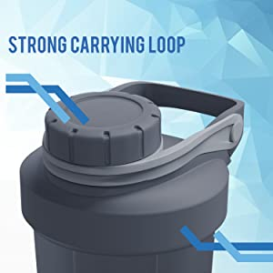 strong sturdy carrying loop shaker bottle blender bluepeak 28oz