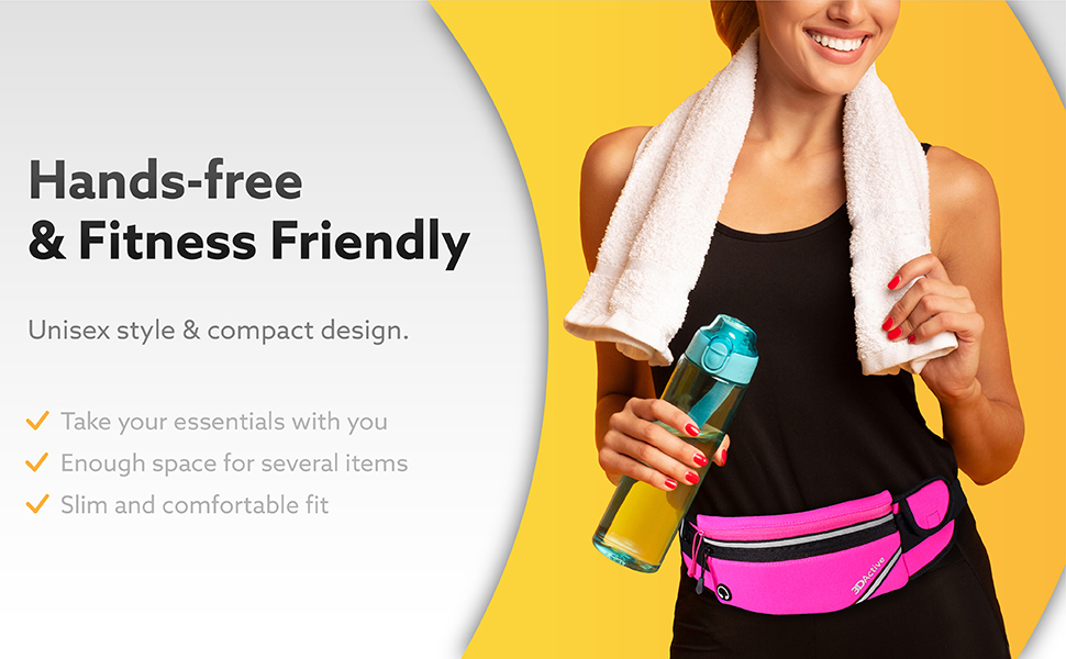 Hands-free amp; fitness friendly. Unisex style. Enough space for several items. Comfortable fit.