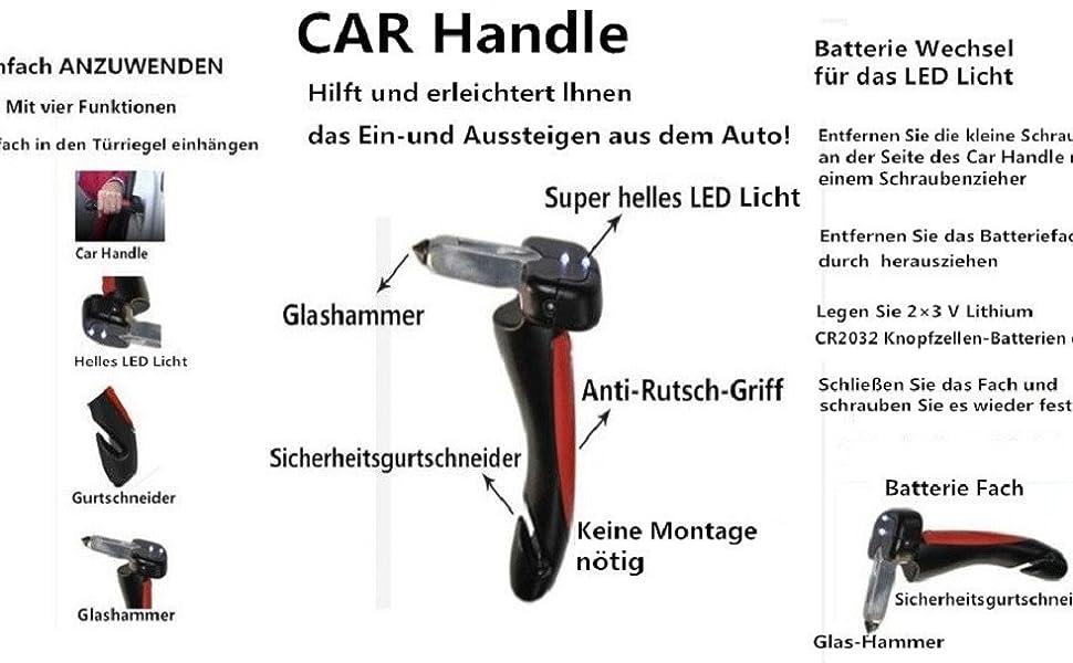 Drake Off Road Mobilitätshilfe Fürs Auto Mit Integrierter Led Taschenlampe Gurtschneider Und Fensterbrecher Auto