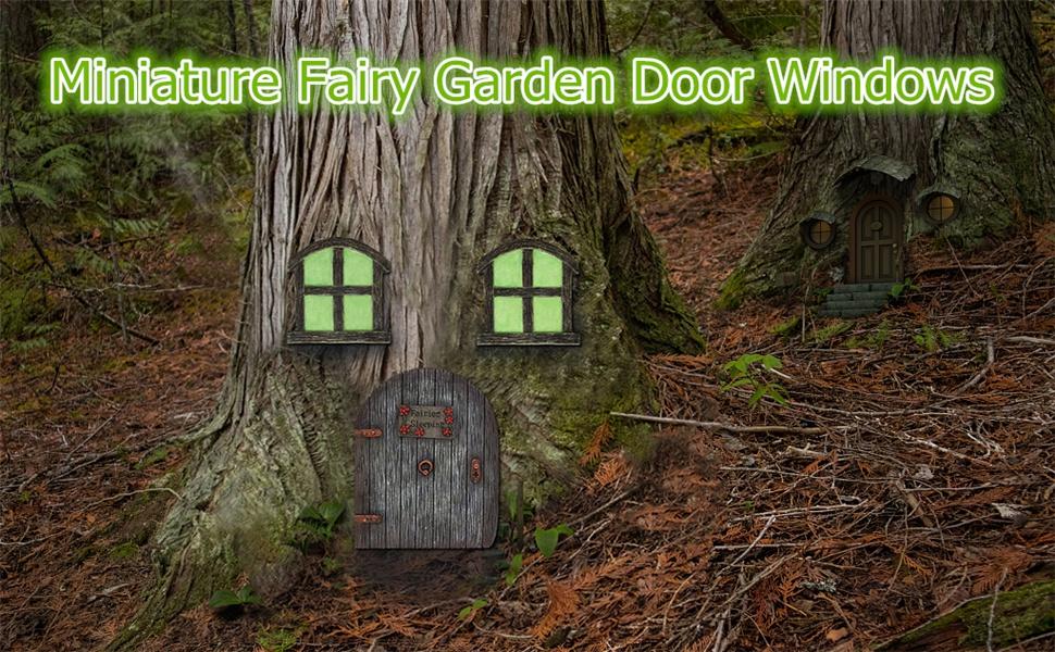 Juegoal Miniature Fairy Garden Door Windows for Tree, Gnome Fairy Homes Kit for Kids Room