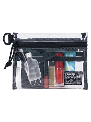 small mini clear cosmetic bag for girl women to organizing personal stuffs for travel trip outdoor