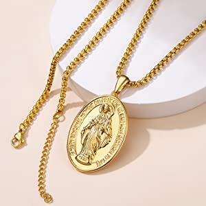 2,    Miraculous Medal Necklace, Large (27*49mm)
