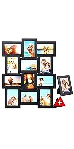 Colore Argenteo WOLTU 9416-3 Set di 3 Cornici Foto da Tavolo da Parete 13x18cm Bordi in Legno