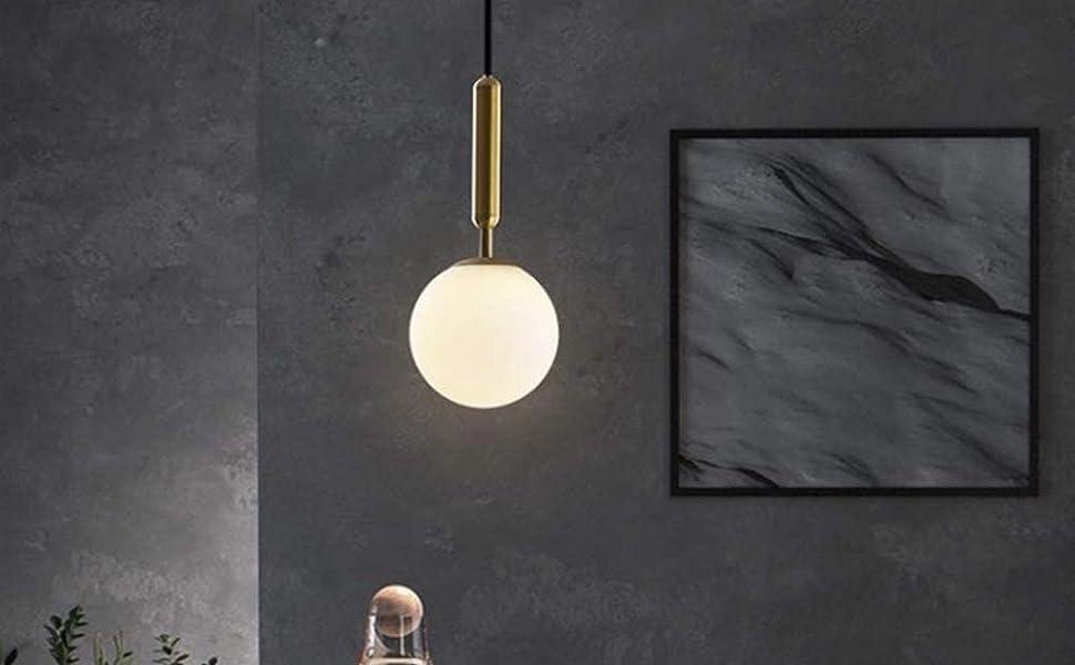 Globe Pendant, Matte White Glass with Brass Finish, One Light Pendant Lighting for Kitchen Island