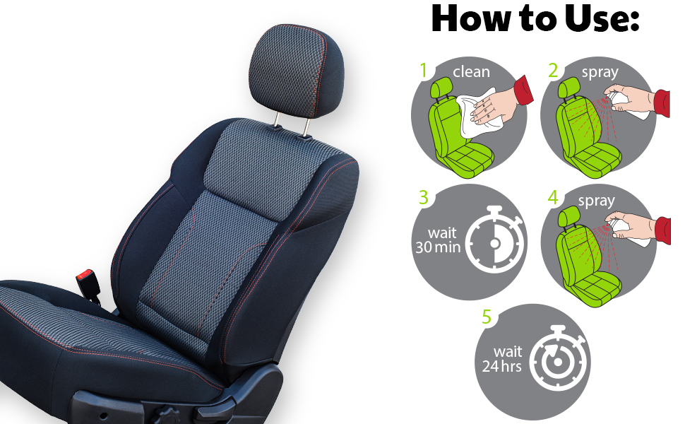 detrapel, how to use, directions, fabric, car seats, auto, pfas-free, spray, clean, wait 30 minutes