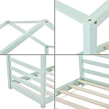 Łóżko dziecięce z kratką Vardø domek z łóżkiem 80 x 160 cm rama łóżka dla dzieci drewno sosnowe