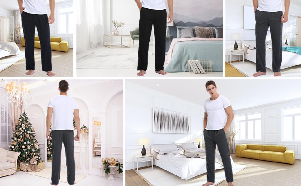 justable y Transpirable S-XXL Vlazom Pantalones de Pijama Hombre Largos,Suave