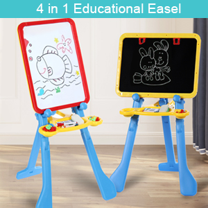6 - STEAM Life Art Easel For Kids 4 In 1 Magnetic Board, Chalkboard, Painting Easel, And Drawing White Board For Kids Toddler Includes Magnetic Letters And Numbers Easy Storage And Adjustable Height