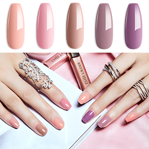 Nude colors gel nail polish