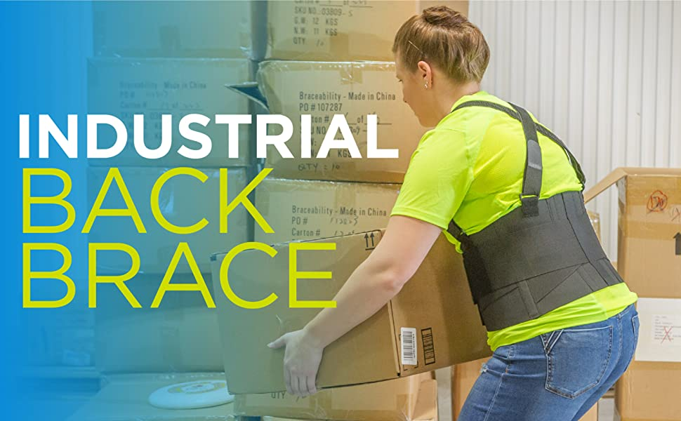 Industrial back brace for warehouse, moving, construction work