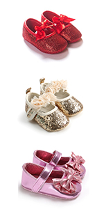 Baby Girls Mary Jane Sparkly Flats