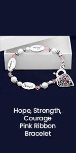 Hope, Strength, Courage Pink Ribbon Bracelet