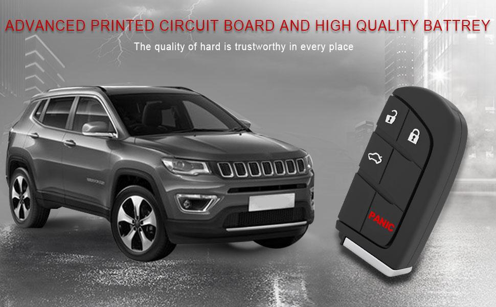 Key Fob fits 2015-2018 Jeep Compass Trackhawk Trailhawk//Fiat 500L//Jeep Renegade 2016 2017 Keyless Entry Remote M3N-40821302