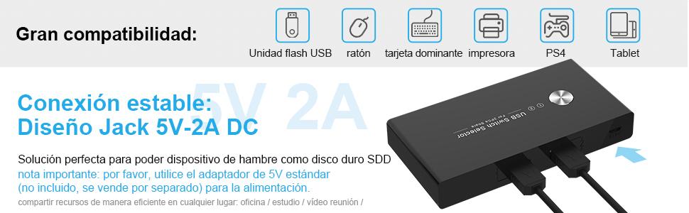 USB 2.0 Switch 4 Puertos Conmutador KVM 2 Entradas y 4 Salidas, Ladron USB KVM con 2 Cable USB para Compartir 4 Dispositivos de Teclado, Ratón, Memorias USB, Disco Duro, Impresoras, Escáneres,