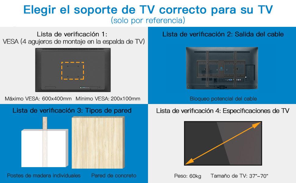 Soporte de Pared para TV, Soporte Inclinado para TV para la mayoría de televisores LED, LCD, OLED, Planos y curvos de 37-70 Pulgadas de hasta 60 kg, VESA máximo 600x400 mm: Amazon.es: