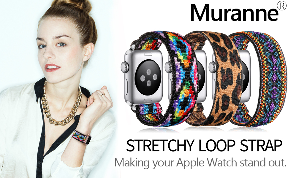 Muranne Elastic Band Compatible for Apple Watch SE 40mm 38mm 42mm 44mm for Womens Girls