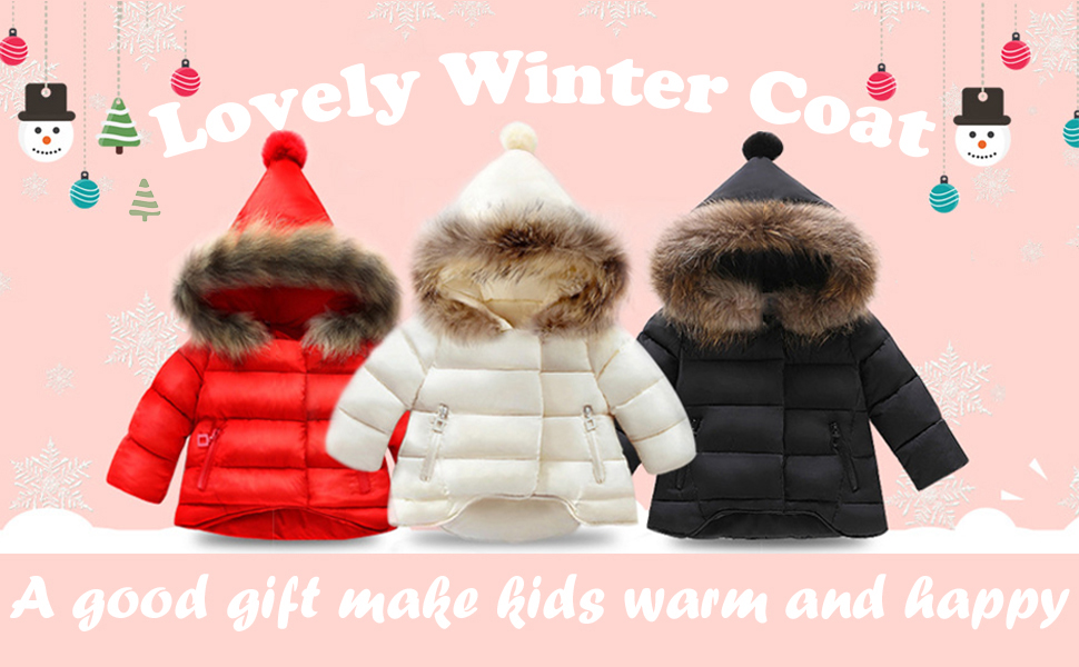 Amaone Kids Jacket for 4-12Years Old Boy Girls Winter Warm Button Zip Pockets Parka Coats Toddler Infant Baby Padded Snowsuit Outwear with Fur Hood