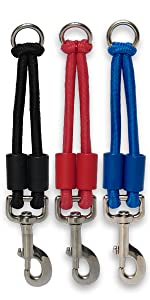 Large jerk-ease bungee dog leash collar harness attachment extension extender black red blue