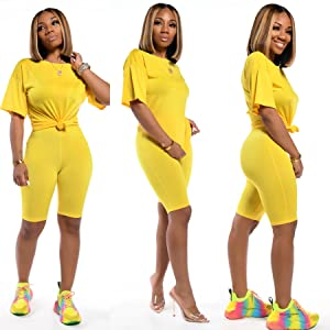 Casual 2 Piece Outfits Sexy Bodycon Club Romper T Shirt Top Shorts Set