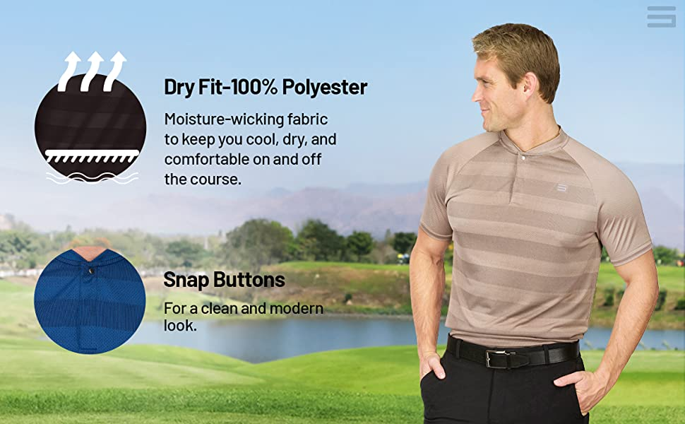 Quick dry fabric to keep you cool, dry and comfortable while golfing. Features hidden snap buttons.
