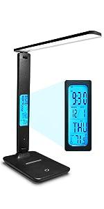 Temperatur Memory-Funktion f/ür Lesen Schreibtischlampe LED,LAOPAO 1200mAh Wiederaufladbar Touch Control Tischlampe mit 3 Farb und 3 Helligkeitsstufen,Zeit B/üro und Kinderzimmer Uhr