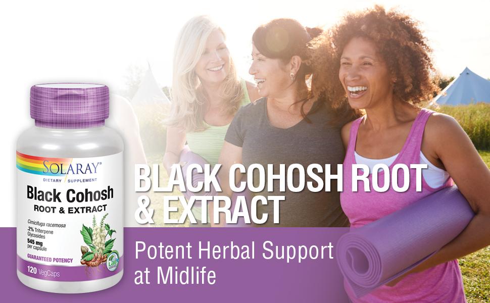 Solaray Black Cohosh Root & Extract 545mg Women's Health Menopause Support Non-GMO 120 VegCaps