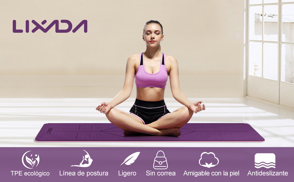 183 x 61 x 0,6 cm Pilates Fitness Fitness Estera de ejercicio para mujeres y hombres Esterilla de yoga con correa de transporte y bolsa de red TPE antideslizante SN