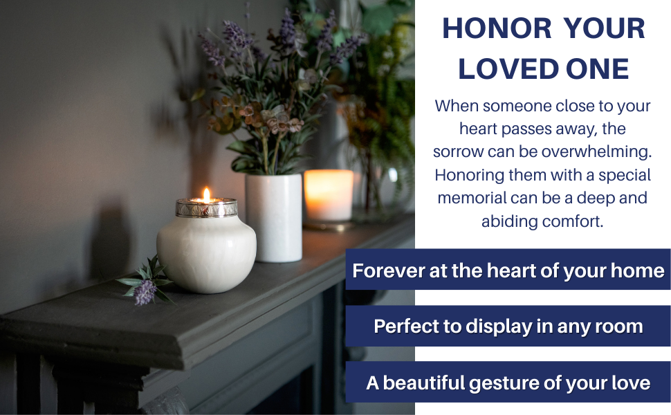 Candle cremation urn for human ashes small keepsake honor loved one fovere love