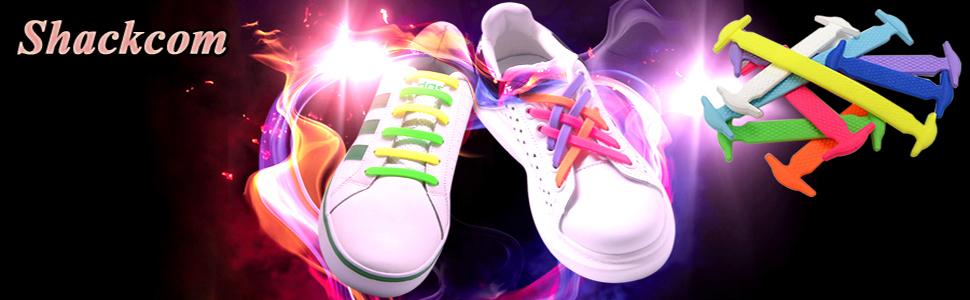 Shackcom sin Corbata Cordones de Zapatos para Adultos Cordones de Zapatos Cordones Elásticos zapatillas de Silicona Plano con Multicolor Impermeables de los Zapatos del Tablero Sneaker Boots: Amazon.es: Zapatos y complementos