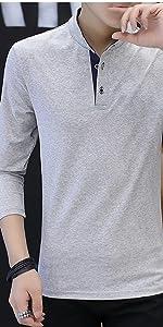 スタンドカラー ロンt カジュアル ポロシャツ シンプル 立ち襟 バンド カラー シャツ 長袖 メンズ