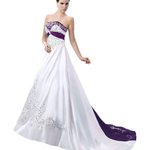 satin purple wedding dress