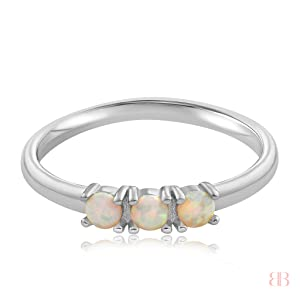 Simple Dots White Fire Opal Ring, Dainty, Delicate Ring