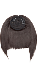 Clip in hair topper with bangs
