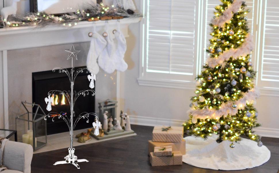 HOHIYA metal christmas ornament display tree rotating stand