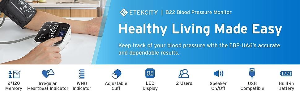 Etekcity Blood Pressure Monitor, Upper Arm Rechargeable BP Monitor Machine 2-User