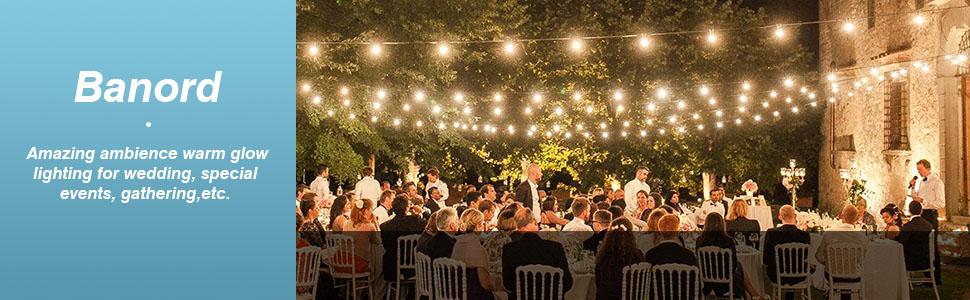 Banord 51 FT s14 led string light outdoor patio lights-shatterproof bulb string