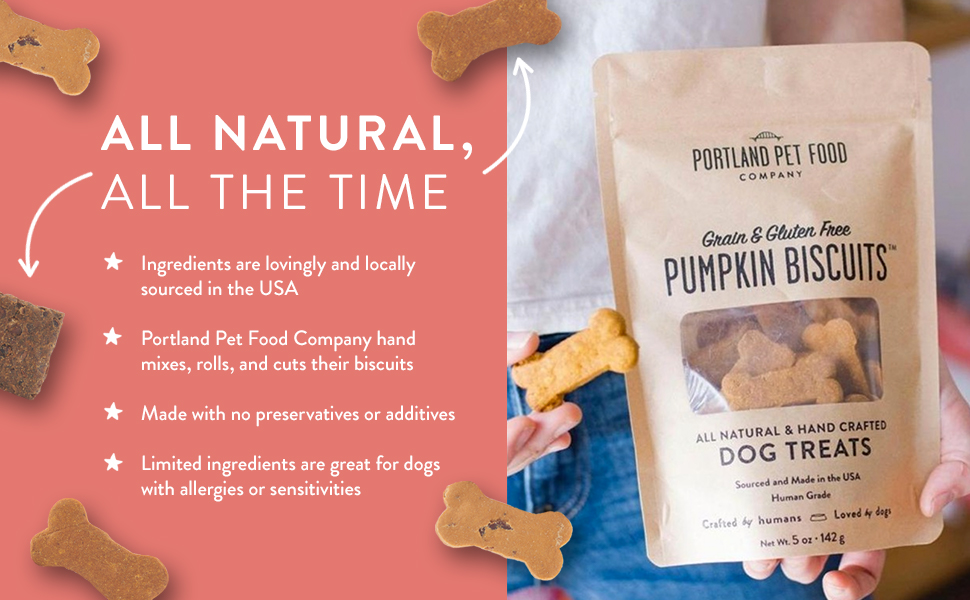 All natural the time ingredients sourced in the USA Grain and gluten free pumpkin biscuits dog treat